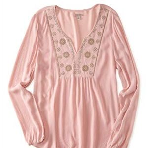 NWT Cape Juby Peach Embroidered Tunic Top